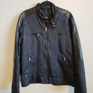 G by Guess Men's black moto jacket Nylon Large
